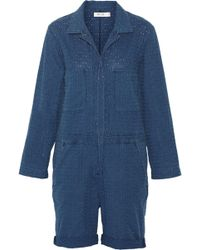 M.i.h Jeans - Embroidered Cotton-chambray Jumpsuit Storm Blue - Lyst