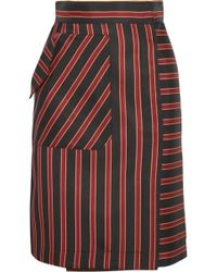 Tomas Maier - Striped Satin-twill Skirt - Lyst