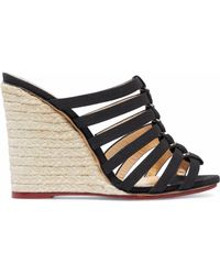 Charlotte Olympia - Woman Cutout Canvas Espadrille Wedge Mules Black - Lyst