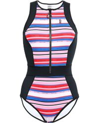 P.E Nation - Striped Neoprene Swimsuit Black - Lyst
