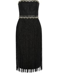 Tamara Mellon - Fringed Woven And Crepe Dress - Lyst