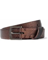 Brunello Cucinelli - Bead-embellished Metallic Pebbled-leather Belt - Lyst