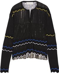 Peter Pilotto - Paneled Stretch-knit And Pleated Silk-blend Lamé Cardigan - Lyst