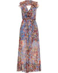 c87b3aea01 Zimmermann - Woman Belted Ruffled Printed Silk-georgette Halterneck Jumpsuit  Blue - Lyst