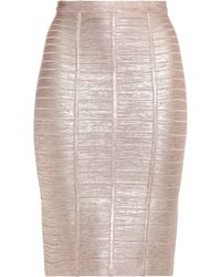 Hervé Léger - Coated Metallic Bandage Skirt - Lyst