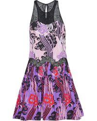 Eastbay Sale Pick A Best Roberto Cavalli Woman Lace-paneled Printed Cotton-poplin Mini Dress Violet Size 42 Roberto Cavalli Cost With Paypal JJltl