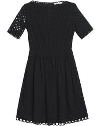 Carven - Pleated Broderie Anglaise Cotton Mini Dress - Lyst