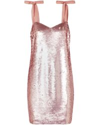 J.Crew - Woman Sequined Tulle Mini Dress Rose Gold - Lyst