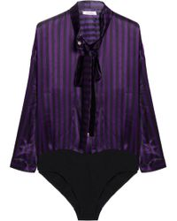 9fda55fb86 Nina Ricci - Pussy-bow Striped Silk-satin Bodysuit - Lyst