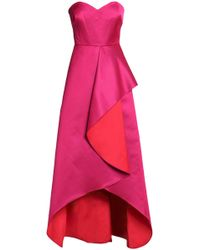 Badgley Mischka - Draped Two-tone Duchesse Satin Gown - Lyst