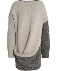 632c504276 Pringle of Scotland - Woman Draped Panelled Wool And Cashmere-blend Jumper  Neutral - Lyst