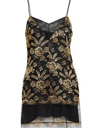Adam Lippes - Corded Lace-paneled Metallic Embroidered Tulle Camisole - Lyst