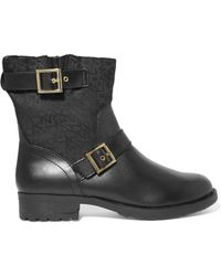 DKNY - Naomi Jacquard-paneled Faux Leather Ankle Boots - Lyst
