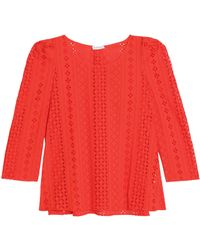 Claudie Pierlot - Broderie Anglaise Cotton Top - Lyst