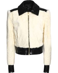 Lanvin - Patent Leather-paneled Shearling Jacket - Lyst