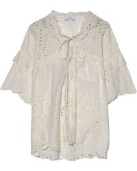 IRO - Lace-up Broderie Anglaise Cotton-poplin Top - Lyst