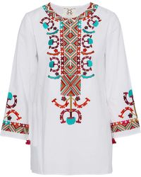 Figue - Embroidered Cotton-poplin Tunic - Lyst
