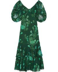 Anna Sui - Floral-print Silk-blend Fil Coupé Gown - Lyst