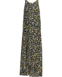 Cedric Charlier - Asymmetric Printed Silk-faille Midi Dress - Lyst