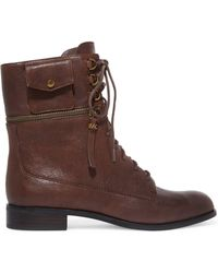 MICHAEL Michael Kors - Lace-up Zip-detailed Leather Ankle Boots Dark Brown - Lyst
