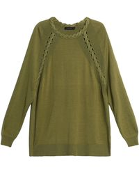 Belstaff - Cashmere, Wool And Silk-blend Sweater Army Green - Lyst