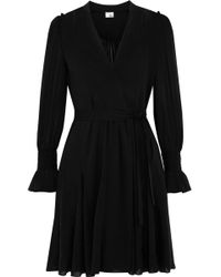 Iris & Ink - Woman Gabriella Wrap-effect Chiffon Mini Dress Black - Lyst
