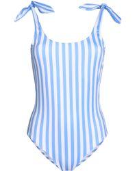 Iris & Ink - Marlene Knotted Striped Swimsuit Light Blue - Lyst