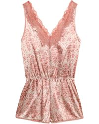 Stella McCartney - Lace-trimmed Leoaprd-print Silk-blend Satin Playsuit - Lyst