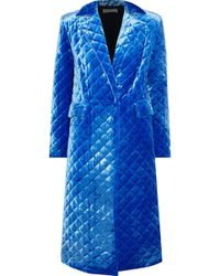 Robert Rodriguez - Woman Quilted Velour Coat Blue - Lyst
