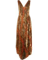 Oscar de la Renta - Pleated Printed Silk-blend Lamé Wrap Gown - Lyst