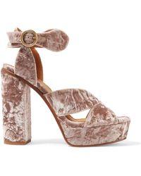 Chloé - Graphic Leaves Crushed-velvet Platform Sandals - Lyst