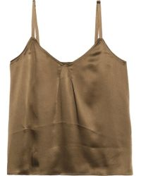 Vince - Crepe-satin Camisole Army Green - Lyst