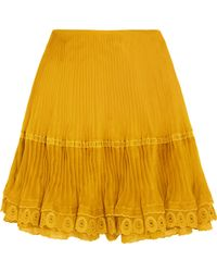 Chloé - Layered Plissé Silk-organza Mini Skirt - Lyst