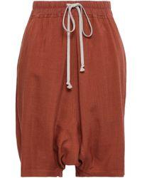 Rick Owens - Woman Wool And Silk-blend Shorts Brick - Lyst