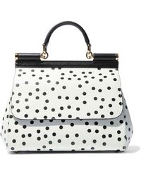 48bf86ca5689 Dolce   Gabbana - Sicily Polka-dot Textured-leather Shoulder Bag - Lyst