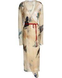 Vionnet - Printed Silk-blend Voile Midi Wrap Dress - Lyst