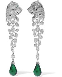 CZ by Kenneth Jay Lane - Silver-tone, Crystal And Bead Earrings - Lyst