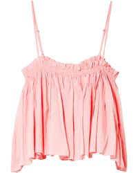Apiece Apart - Woman Sanna Cropped Striped Silk Camisole Baby Pink - Lyst