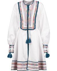 Talitha - Kutch Athena Tasseled Embroidered Cotton Mini Dress - Lyst
