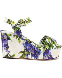 Dolce & Gabbana - Floral-print Jacquard Wedge Sandals - Lyst