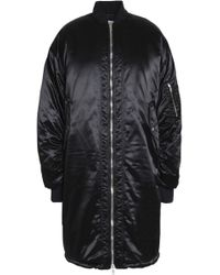 MSGM - Woman Ruched Satin Bomber Jacket Black - Lyst