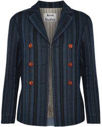 Acne Studios - Jilva Button-embellished Striped Wool, Linen And Cotton-blend Jacket - Lyst
