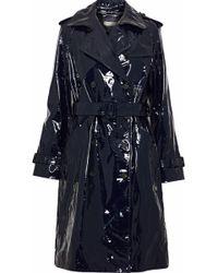 Diane von Furstenberg - Woman Patent-leather Trench Coat Midnight Blue - Lyst
