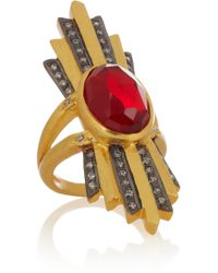 Kevia - Gold-plated, Ruby And Cubic Zirconia Ring - Lyst