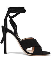 Gianvito Rossi - Crissy Lace-up Suede Sandals - Lyst