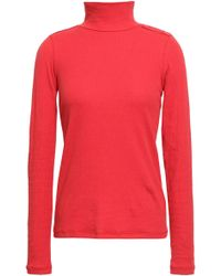Each x Other - Woman Appliquéd Ribbed Stretch-cotton Turtleneck Top Papaya - Lyst
