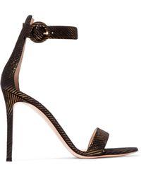 Gianvito Rossi - Portofino 105 Metallic Suede Sandals - Lyst