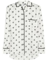 Iris & Ink - - Bonnie Heart-print Silk-twill Shirt - Ivory - Lyst