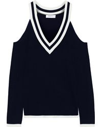 Bailey 44 Sheffield Cold-shoulder Striped Knitted Jumper Midnight Blue