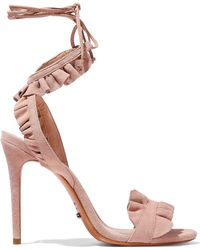 Schutz - Woman Irem Ruffled Suede Sandals Peach Size 5 - Lyst